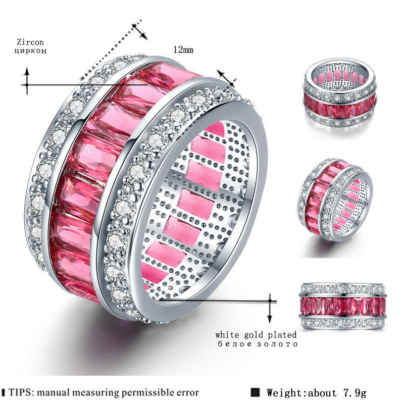 White Gold Plated Women Engagement Wedding Ring AAA Zircon Jewelry 6 7 8 9 Size