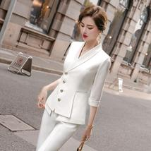 Women's High Quality Solid White Blazer Jacket Business Suit image 3