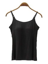 Womens Modal Built-in Bra Padded Camisole Yoga Tanks Tops Black US 2-4 - $18.81
