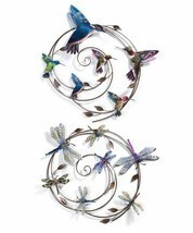 "One 27"" Round Metal Wall Decor Sprial Piece -Choice of Hummingbird or Dragonfly"