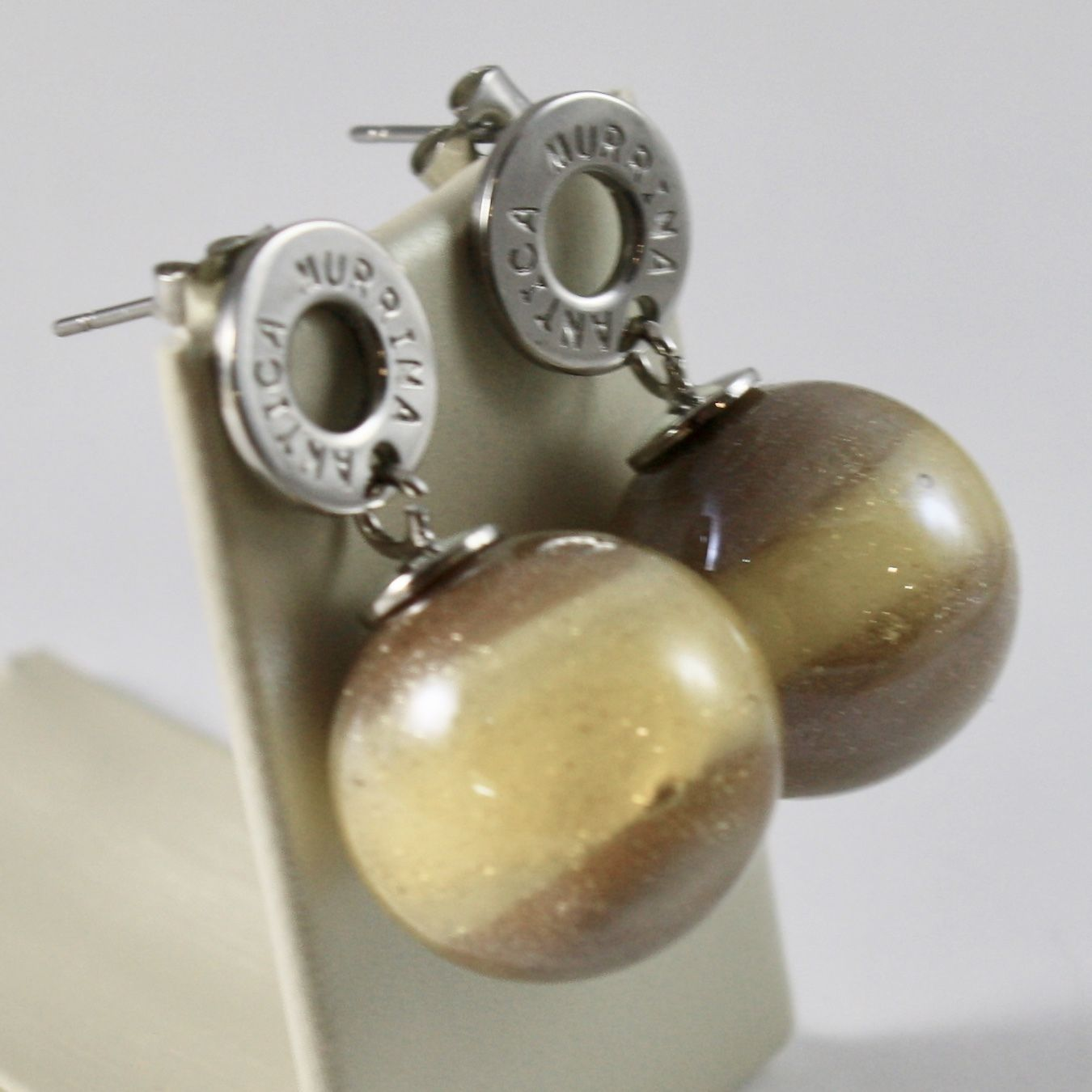 ANTICA MURRINA VENEZIA PENDANT EARRINGS WITH YELLOW BROWN MURANO GLASS BALLS