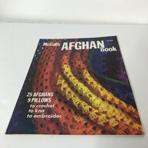 McCalls Afghan Book 25 Afghans 9 Pillows Knit Crochet Embroider 1973 - $17.82