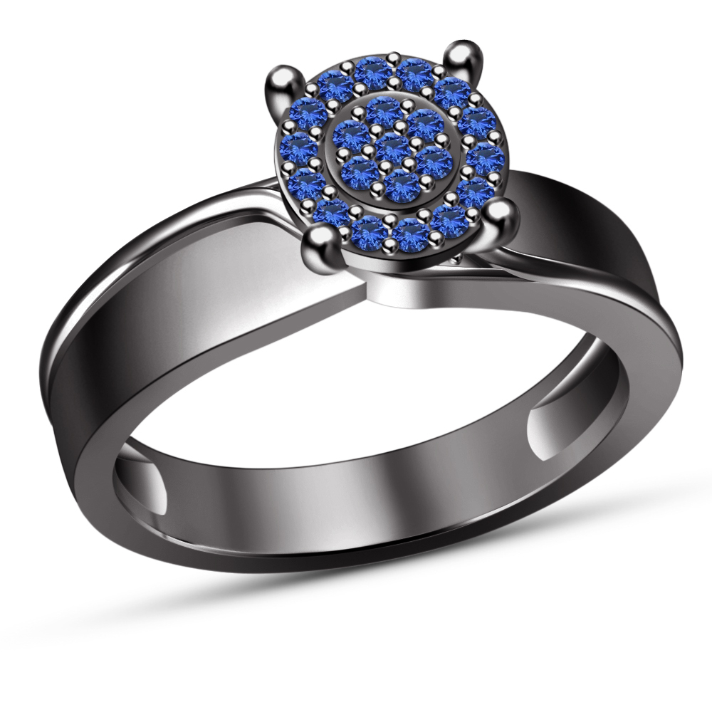 Solid 14K Black Gold Finish Solid 925 Silver Blue Sapphire Women Engagement Ring