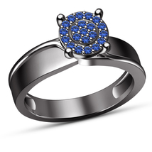 Solid 14K Black Gold Finish Solid 925 Silver Blue Sapphire Women Engagem... - $72.99
