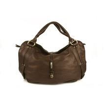 Celine Bittersweet Brown Pebbled Leather Large Hogo Shoulder Bag Handbag - $712.80