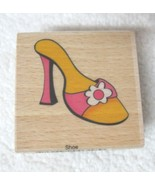 Sarah Beise Womans High Heel w Flower  Wood & Rubber Stamp Never Used  - $18.32