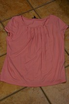 AK ANNE KLEIN PINK ROSE CORAL PLEATED NECK BLOUSE LN CAP SLEEVES TOP SHE... - $11.25