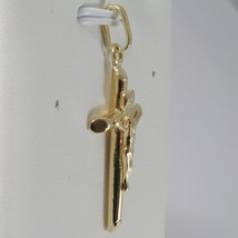 18K YELLOW GOLD CROSS WITH JESUS, ROUNDED TUBE, SHINY 1.42 INCHES, MADE IN ITALY image 2