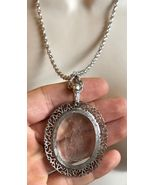 AVON Cast Glass Oval Figural LADY PENDANT and Silver-Tone NECKLACE - 25 ... - $42.50