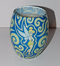 Disney Tinkerbell Candle 4in Peter Pan Parks Glass Blue Fairy Home Decor - $11.99