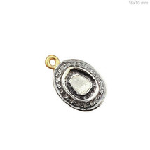 Diamond Handmade Rose Cut Charm Pendant 925 Sterling Silver Jewelry 16x1... - $123.75