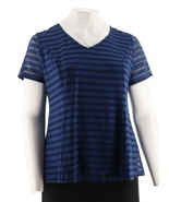 Isaac Mizrahi Textured V-neck Short Slv Peplum Top Royal Navy XS NEW A29... - $39.96 CAD
