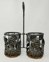 Vintage Metal Rose Tulip Flowers Double Wine Bottle Carrier Wicker Bottom - $18.95