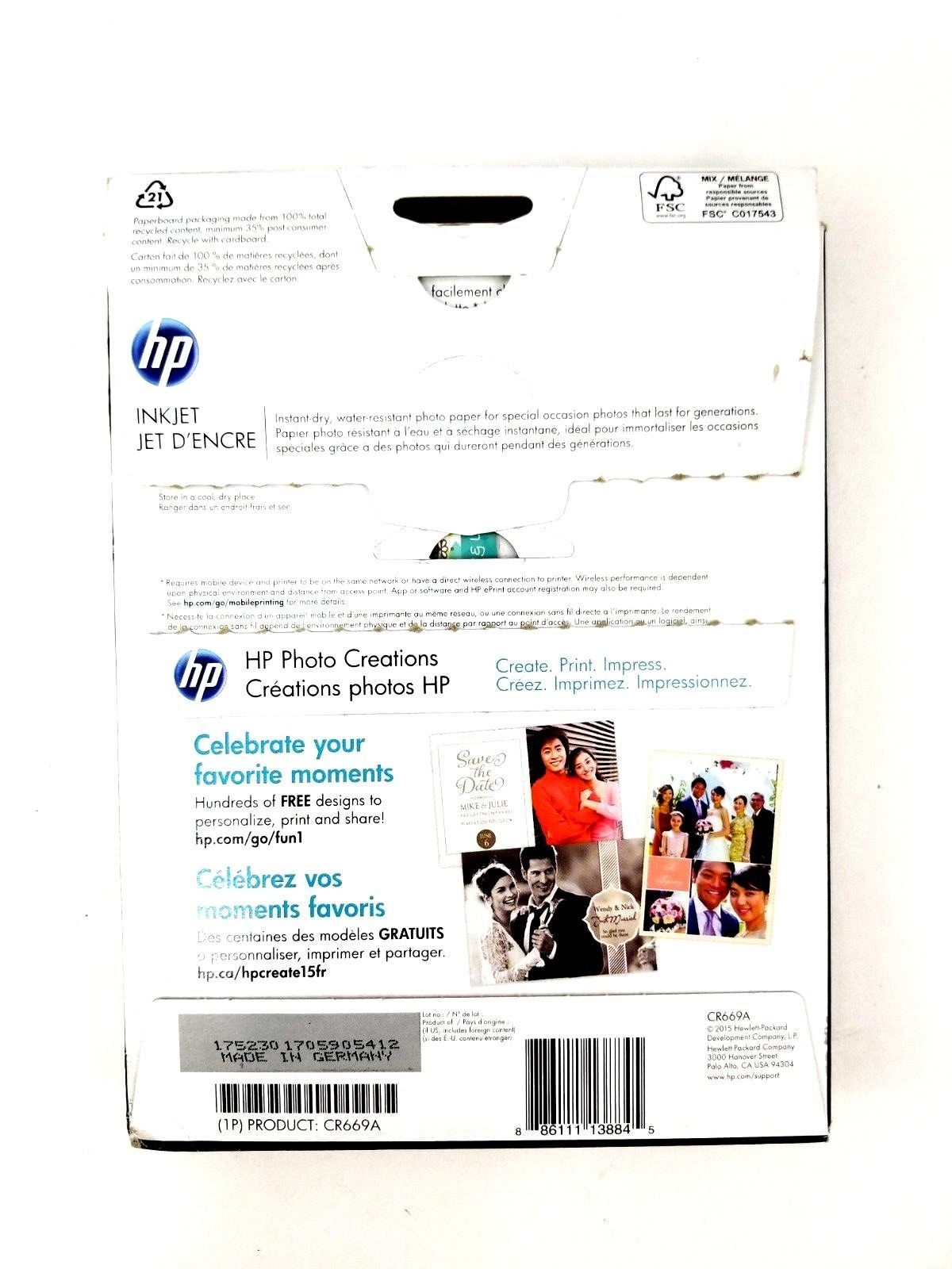 """HP Premium Plus Photo Paper 60 Sheets Glossy Glace 5"""" x 7"""" Model CR669A"""