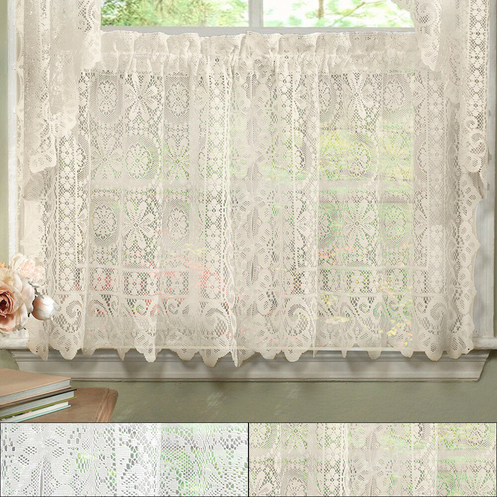 Primary image for Hopewell Heavy Floral Lace Kitchen Window Curtain 36 x 58 Tier