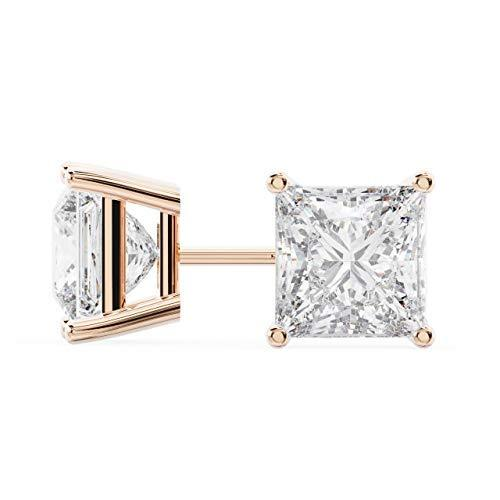 14k Rose Gold Princess Cut Diamond Stud Earrings 1 Carat