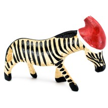 Hand Carved & Painted Jacaranda Wood Santa Hat Zebra  Safari Christmas Figurine