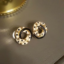 DON LIN Gold Tone White Black Enamel  Earrings Designer Vintage - $15.69