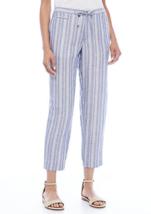 NWT ANNE KLEIN BLACK BLUE STRIPE LINEN DRAWSTRING WAIST PANTS SIZE 14 $89 - $34.99