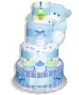 Blue Sampler Baby Diaper Cake - $134.00