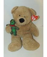 2005 Ty Pluffies tan Bear Beary Merry plush holding green plaid teddy Ba... - $11.87