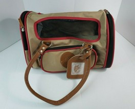 SHERPA Element Duffle Pet Carrier - Small - Tan & Red w/ Faux Leather Ac... - $29.69