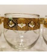 Fabulous Culver Glassware VALENCIA 22k Gold & Green 5 3/4 Wine Barware Set of 6! - $59.99