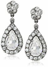 Ben-Amun by Isaac Manevitz Silver Crystal Teardrop Earrings Made in USA NWT image 1