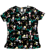 Peanuts Christmas Scrub Top Medical Shirt Black Charlie Brown Snoopy Wom... - $16.67