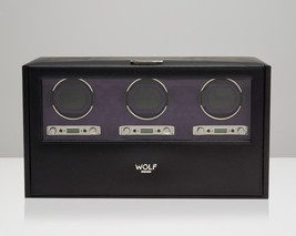 WOLF Blake 2.7 Triple Automatic Watch Winder Black Pebble Leather Three Motors - $1,449.00