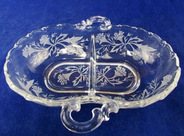 Fostoria Heather Etched 2-Section Oval Relish Dish w Handles  VTG - $17.82