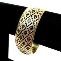 Boho Wide Bangle Bracelet, Stamped Etched Brass And Acrylic Bangle* - $14.84