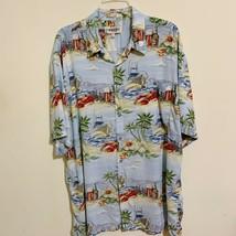 Campia Moda Hawaiian Aloha Shirt Size XL Palm Trees Lobsters Yachts Hibi... - $49.49