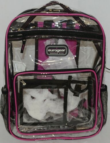 Shalam Imports Brand Eurogear Extreme Adventure Clear Backpack Pink Trim