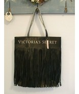Victoria's Secret Black Fringed Faux Leather Tote Bag New With Tags Ret $58 - $13.00