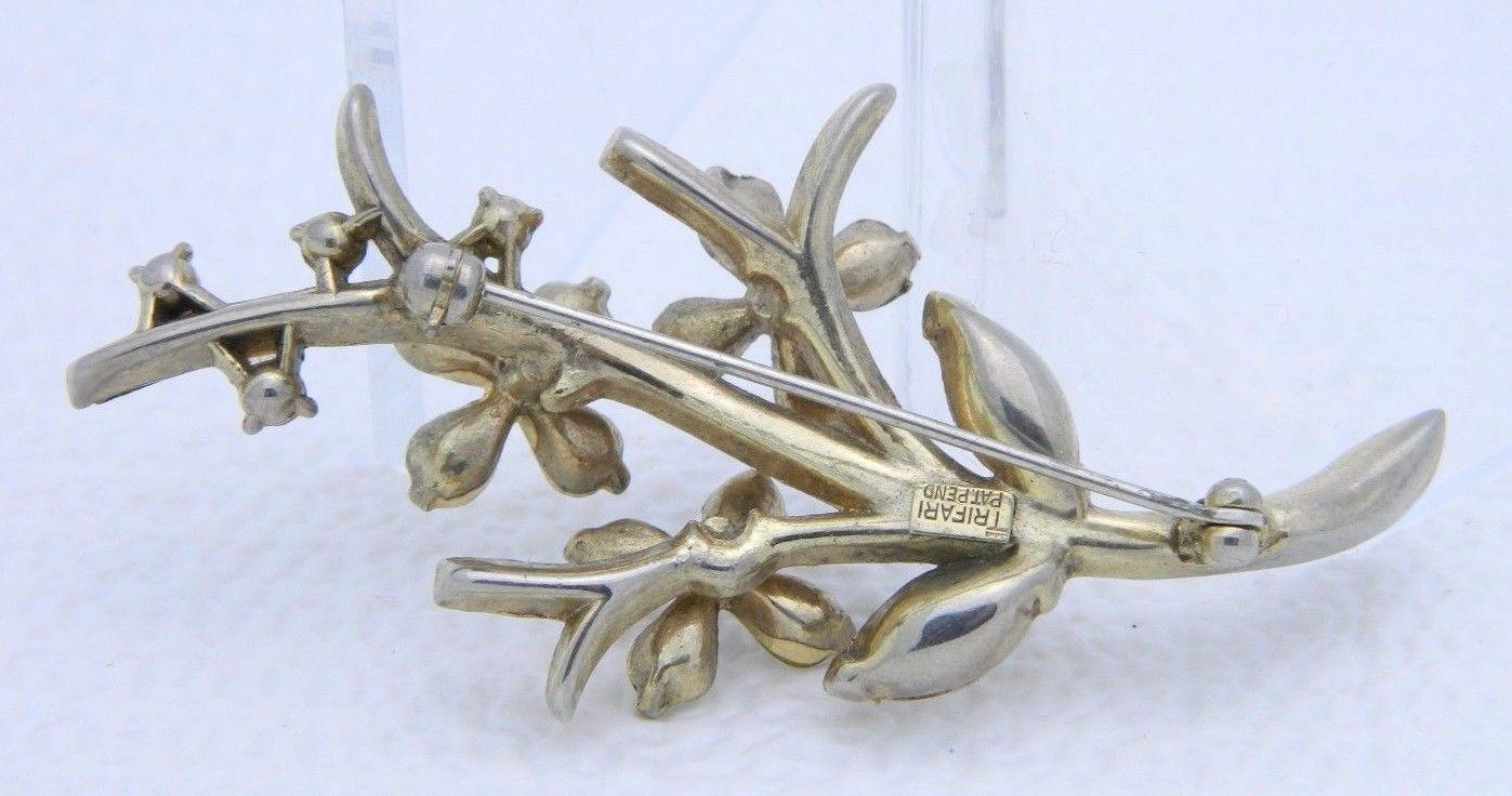 VTG 1951 TRIFARI PAT PEND Alfred Philippe Clear Rhinestone Star Flower Brooch -B