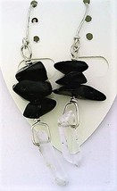 Black Onyx Gemstone Nuggets And Crystal Silver Wire Earrings - $13.39