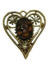 Vintage Cameo Heart Brooch Brown Pin Left Facing Openwork Gold Tone Faux Pearls - $19.79