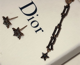 Authentic Christian Dior Star Black Grey Crystal DIOR Dangle Drop EARRINGS  image 4