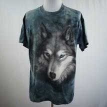 The Mountain 2002 Wolf Face Bluish Gray Tie Dye T Shirt Mens Sz L - $24.09