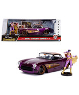 1957 Chevrolet Corvette Purple with Batgirl Diecast Figure DC Comics Bom... - $48.85