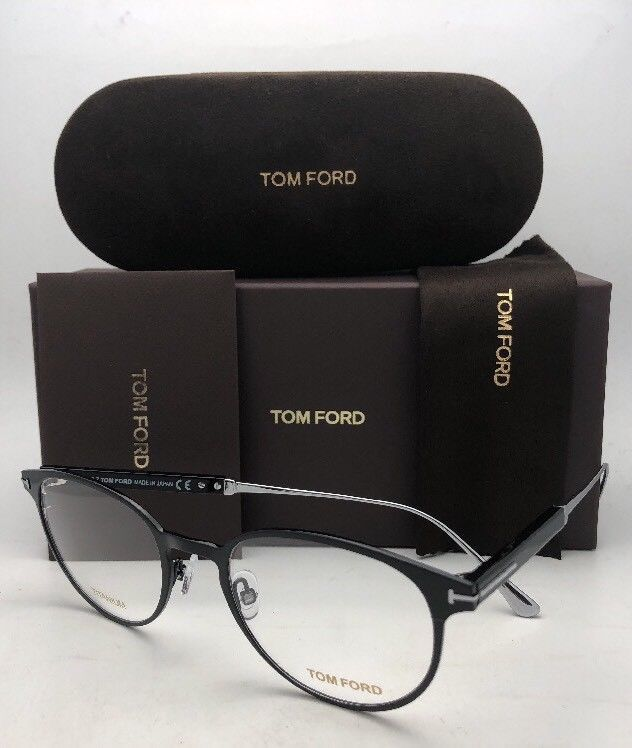 New TOM FORD Classic Eyeglasses TF 5482 001 50-21 Black & Silver Titanium Frames