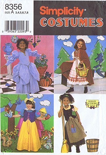 Primary image for Simplicity 8356 Sewing Pattern, Child's Costumes, Size A (3,4,5,6,7,8) Shirley B