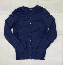 Lands End Supima Cotton Cardigan Sweater Women's Tall Small Navy Blue - $24.75