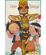 Vintage Birthday Card Children Cowboy and Indian Totem Pole American Gre... - $9.89