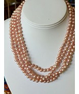 """Pink Pearl 6-7mm round Strand Necklace 72"""" long Freshwater Silver W/ Adj... - $45.49"""