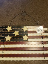 American Flag ~ Red ~ White ~ Blue ~ Wooden Wall Decor ~ Patriotic Home ... - $26.60