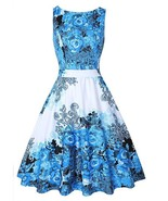 OTEN Women's Flared Sleeveless Boat Neck A Line Floral Dress with Poc... - $25.00