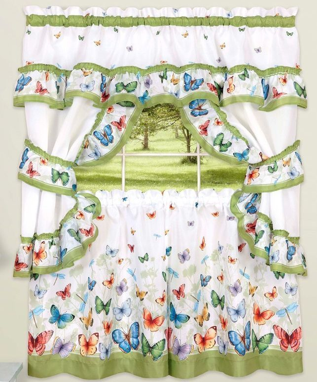 "Primary image for Kitchen Curtains Set: 2 Tiers (57""x 36"") & Swag, BUTTERFLIES by Achim"