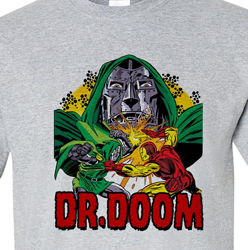 Dr doom marvel comics fantastic 4 t shirt for sale online t shirt store gray